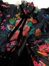 画像12: ヨーロッパ古着 上質の逸品!!花柄ベロア×切り替えし×大人クラシカル!!!首元フリル×リボンデザイン♪ 華やか大人可愛いヴィンテージドレス パーティースタイルにもおすすめ ベルトSET (12)