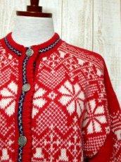 画像9: ☆ ヨーロッパ古着 Red×White★雪の結晶模様編み♪ 大人レトロフォークロアstyleにもおすすめ♪ ほっこり暖かニットカーディガン ☆ (9)