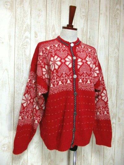 画像1: ☆ ヨーロッパ古着 Red×White★雪の結晶模様編み♪ 大人レトロフォークロアstyleにもおすすめ♪ ほっこり暖かニットカーディガン ☆