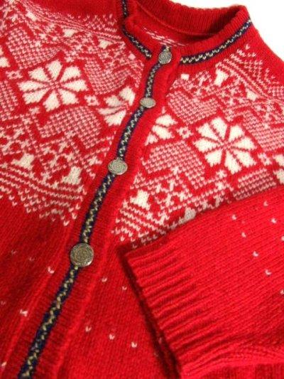 画像3: ☆ ヨーロッパ古着 Red×White★雪の結晶模様編み♪ 大人レトロフォークロアstyleにもおすすめ♪ ほっこり暖かニットカーディガン ☆