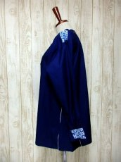 画像6: White×Blue Gradationのお花刺繍チロルテープが可愛い ヨーロッパ古着 レトロフォークロアなヴィンテージTOPS Navy【6245】 (6)