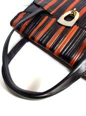 画像3: ストライプデザイン レザー  レトロ ハンド 鞄 バッグ【6278】 (3)