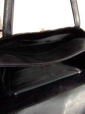 画像4: ストライプデザイン レザー  レトロ ハンド 鞄 バッグ【6278】 (4)