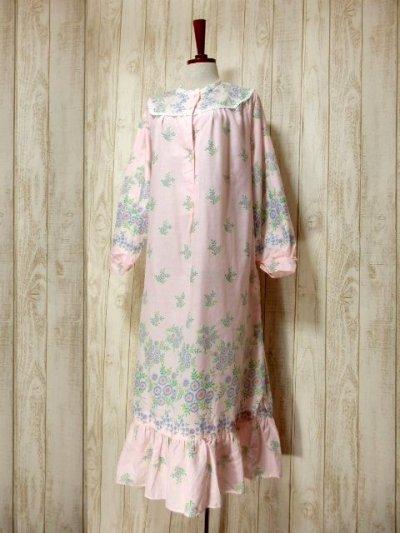 画像1: アンティークフラワープリント 淡いピンク レース装飾 レトロガーリー 長袖 ヨーロッパ古着 ヴィンテージドレス 【6331】