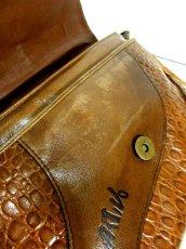 画像17: パッチワークデザイン キャメルブラウン レザー 色合い風合いが素敵 レディース レトロ ショルダー 鞄 バッグ【6343】 (17)