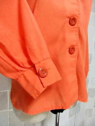 画像2: ワンポイントお花刺繍が素敵 Orange Collar レトロフォークロア ヨーロッパ古着 ヴィンテージ刺繍ブラウス【6372】