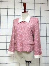 画像2: ☆ Pink×White Collar★大人Dot×カタチが可愛い♪レトロガーリーな70'sヴィンテージジャケット ☆ (2)