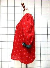 画像6: 小花柄 レッド グリーン 切り替えし ハート型ボタン 花型ボタン ガーリー ディアンドル チロルブラウス ドイツ民族衣装 舞台 演奏会 フォークダンス オクトーバーフェスト 【6386】 (6)