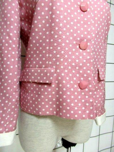 画像2: ☆ Pink×White Collar★大人Dot×カタチが可愛い♪レトロガーリーな70'sヴィンテージジャケット ☆