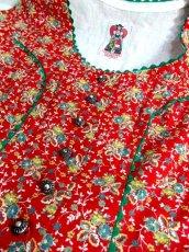 画像8: 花柄 ジグザグレース レッド グリーン コンチョボタン ディアンドル チロルブラウス ドイツ民族衣装 舞台 演奏会 フォークダンス オクトーバーフェスト 【6409】 (8)