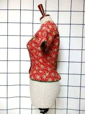 画像6: 花柄 ジグザグレース レッド グリーン コンチョボタン ディアンドル チロルブラウス ドイツ民族衣装 舞台 演奏会 フォークダンス オクトーバーフェスト 【6409】 (6)