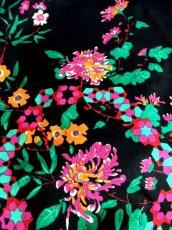 画像12: サイケ 幾何学柄 花柄 70's ブラック 衣装やパーティースタイルにも レトロ 長袖 ヨーロッパ古着 ヴィンテージドレス 【6450】 (12)