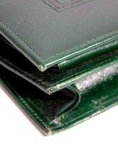 画像7: 深めのグリーン レザー レディース レトロ クラッチ 鞄 バッグ【6476】 (7)