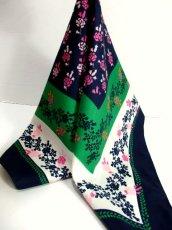 画像1: レトロアンティーク ヴィンテージスカーフ イタリア製 花柄 スクエア【6528】 (1)