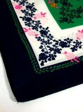 画像5: レトロアンティーク ヴィンテージスカーフ イタリア製 花柄 スクエア【6528】 (5)