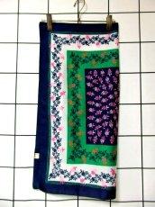 画像3: レトロアンティーク ヴィンテージスカーフ イタリア製 花柄 スクエア【6528】 (3)