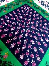 画像8: レトロアンティーク ヴィンテージスカーフ イタリア製 花柄 スクエア【6528】 (8)