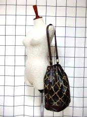 画像3: 巾着型 フランス製 レザー ダークブラウン レディース ヴィンテージ ショルダー 鞄 バッグ【6547】 (3)