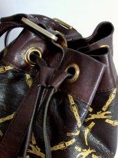 画像10: 巾着型 フランス製 レザー ダークブラウン レディース ヴィンテージ ショルダー 鞄 バッグ【6547】 (10)