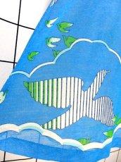 画像10: 鳥柄 ブルー 70's 爽やか 半袖 ノースリーブ 昭和レトロ 国産古着 ワンピース&トップス レトロセットアップ【6555】 (10)