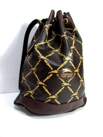 画像2: 巾着型 フランス製 レザー ダークブラウン レディース ヴィンテージ ショルダー 鞄 バッグ【6547】