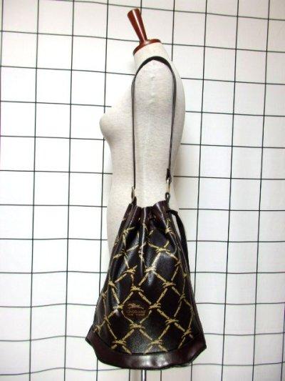 画像1: 巾着型 フランス製 レザー ダークブラウン レディース ヴィンテージ ショルダー 鞄 バッグ【6547】