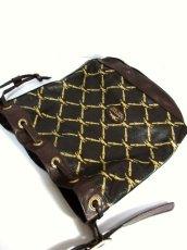 画像13: 巾着型 フランス製 レザー ダークブラウン レディース ヴィンテージ ショルダー 鞄 バッグ【6547】 (13)