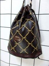 画像2: 巾着型 フランス製 レザー ダークブラウン レディース ヴィンテージ ショルダー 鞄 バッグ【6547】 (2)