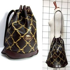 画像1: 巾着型 フランス製 レザー ダークブラウン レディース ヴィンテージ ショルダー 鞄 バッグ【6547】 (1)