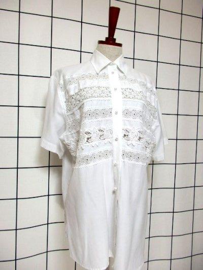 画像1: 贅沢なフラワーレース使いが素晴らしい ヨーロッパ古着 ヴィンテージホワイトブラウス【6557】