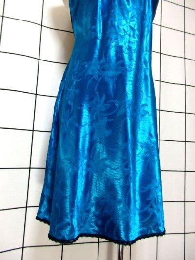 画像2: 重ね着にも便利 花織り ブラックレース装飾 レトロ USA古着 スリップキャミドレス 【6577】