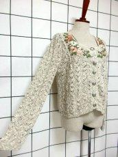 画像4: ヨーロッパ古着 チロルニットカーディガン 花模様編み コットン×アクリル フォークロア (4)