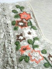 画像8: ヨーロッパ古着 チロルニットカーディガン 花模様編み コットン×アクリル フォークロア (8)