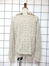 画像5: ヨーロッパ古着 チロルニットカーディガン 花模様編み コットン×アクリル フォークロア (5)