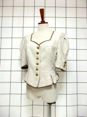 画像1: チロルジャケット ペプラム調ライン リネン混紡 ヴィンテージ フォークロア ヨーロッパ古着 (1)