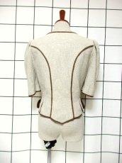 画像5: チロルジャケット ペプラム調ライン リネン混紡 ヴィンテージ フォークロア ヨーロッパ古着 (5)