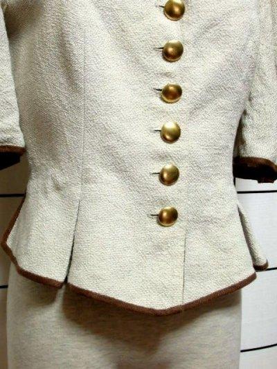 画像2: チロルジャケット ペプラム調ライン リネン混紡 ヴィンテージ フォークロア ヨーロッパ古着