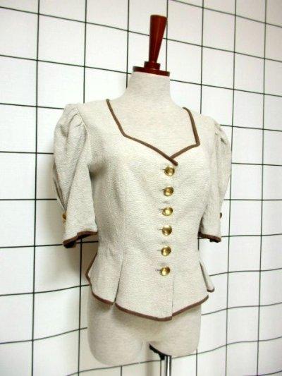 画像1: チロルジャケット ペプラム調ライン リネン混紡 ヴィンテージ フォークロア ヨーロッパ古着