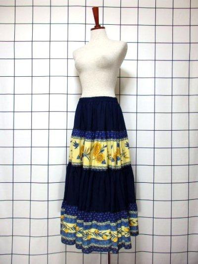 画像1: プロバンススカート フランス製 ボタニカル ネイビー×イエローブルー  フォークロア クラシカル ヨーロッパ古着 ウエストゴム