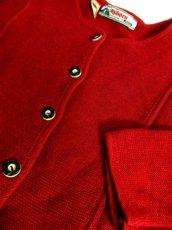 画像8: 落ち着いたレッド ウッド調ボタン フォークロア レトロ ヨーロッパ古着 チロルニットカーディガン【6618】 (8)