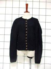 画像1: チロルニットカーディガン ブラック ウール ウッド調ボタン フォークロア ヨーロッパ古着 (1)