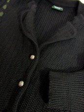 画像8: ブラック コンチョボタン フォークロア レトロ ヨーロッパ古着 チロルニットカーディガン【6637】 (8)
