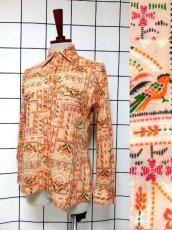 画像1: ヴィンテージブラウス 鳥柄 花柄 リーフ柄 70's レトロ 長袖 (1)