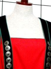画像3: オーストリア製 チェック柄 ウール レッド ブラック 切り替えし ノースリーブ ガーリー フォークロア ディアンドル チロルワンピース ドイツ民族衣装 舞台 演奏会 フォークダンス オクトーバーフェスト 【6640】 (3)