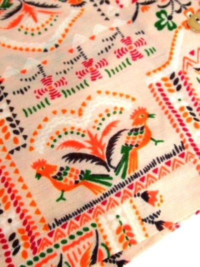 画像3: ヴィンテージブラウス 鳥柄 花柄 リーフ柄 70's レトロ 長袖