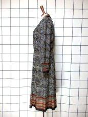 画像6: ドイツ製 スカーフ柄 ボーダー 長袖 レトロ ヨーロッパ古着 ヴィンテージワンピース  【6645】 (6)