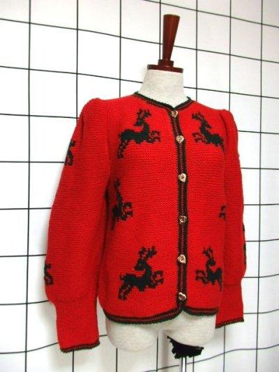 画像1: チロルニットカーディガン トナカイ模様編み オーストリア製 レッド グリーン ウール ハート型ボタン フォークロア ヨーロッパ古着