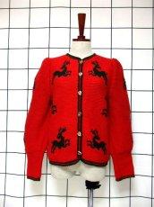 画像2: チロルニットカーディガン トナカイ模様編み オーストリア製 レッド グリーン ウール ハート型ボタン フォークロア ヨーロッパ古着 (2)