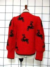 画像5: チロルニットカーディガン トナカイ模様編み オーストリア製 レッド グリーン ウール ハート型ボタン フォークロア ヨーロッパ古着 (5)