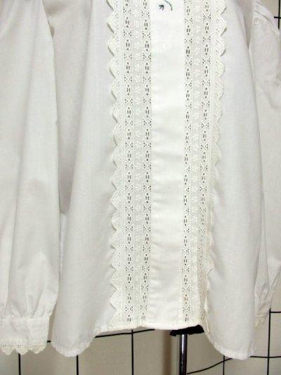 画像2: 刺繍 ダブルレース襟 ホワイト チロルブラウス ドイツ民族衣装 舞台 演奏会 フォークダンス オクトーバーフェスト 【6670】